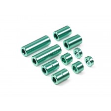 ALUMINUM SPACER SET (12/6.7/6/3/1.5mm, 2PCS. EACH) (GREEN) アルミスペーサーセット(12/6.7/6/3/1.5mm各2個)(グリーン)